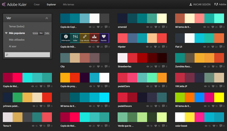 Mejores combinaciones de colores para web adobe kuler - Paleta de colores pared ...