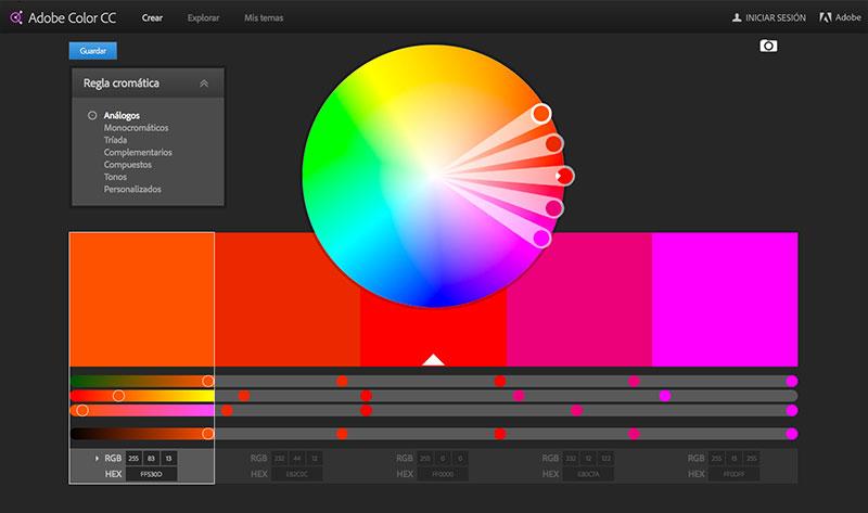 la mejor combinaciones de colores Adobe Kuler