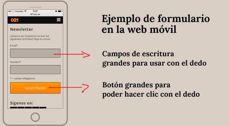 Usabilidad en la web móvil ejemplo formulario