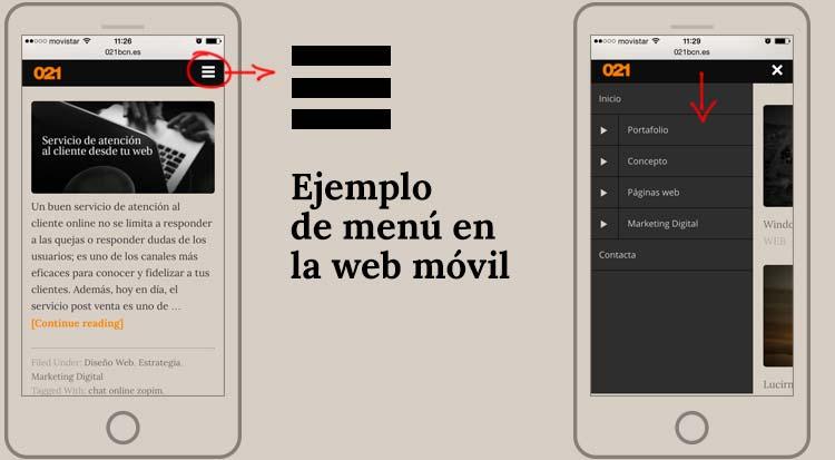 Usabilidad en la web móvil ejemplo menu