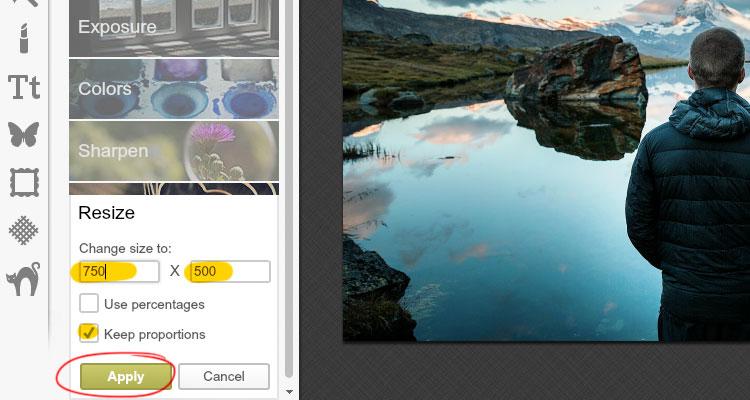 editar imagenes con picmonkey resize