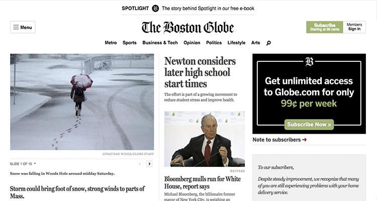 Menu de navegación the boston globe