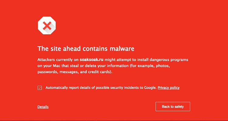 etiqueta de página web con virus