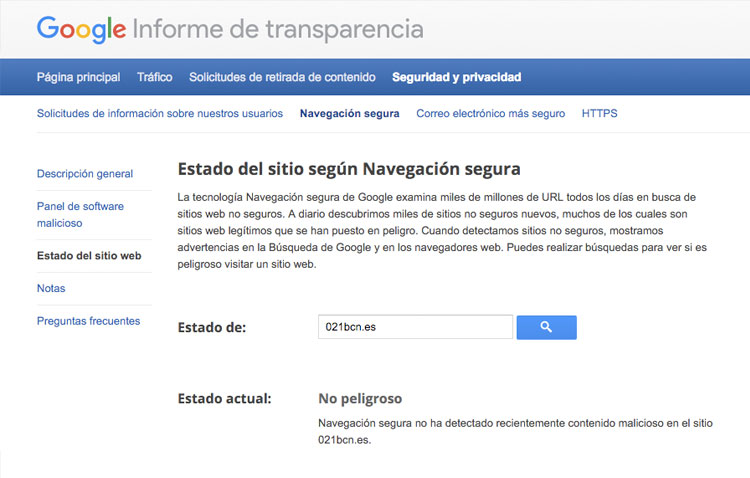 informe de transparencia pagina web virus