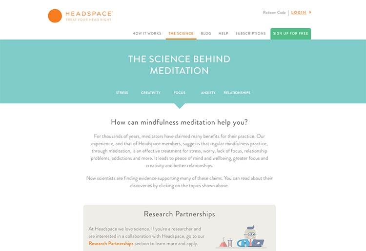 posicionamiento con contenido web headspace