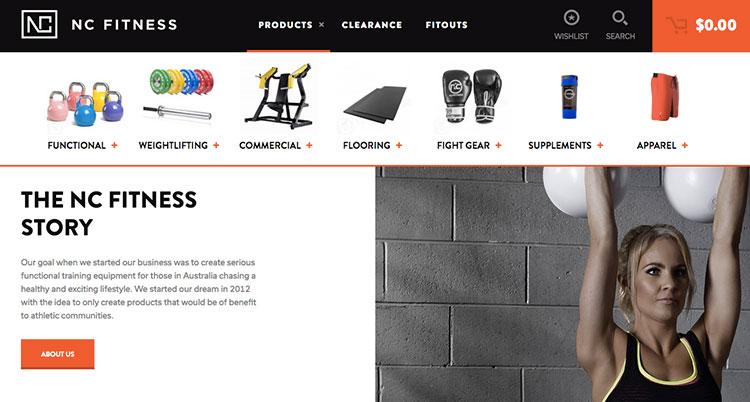 tienda con Woocommerce nc_fitness