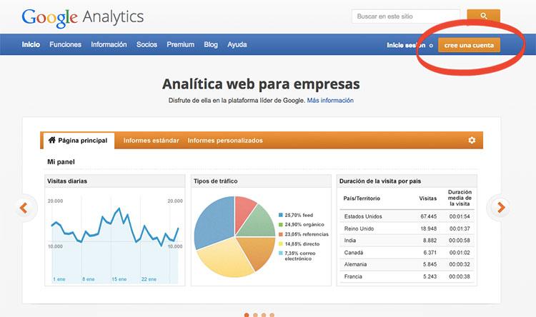 como crear cuenta de analytics paso 1