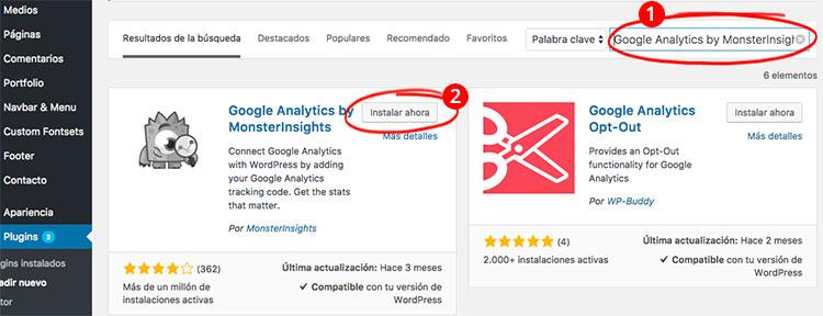 paso 3 como instalar Google Analytics en wordpress