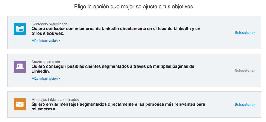 Tipos de campañas en Linkedin