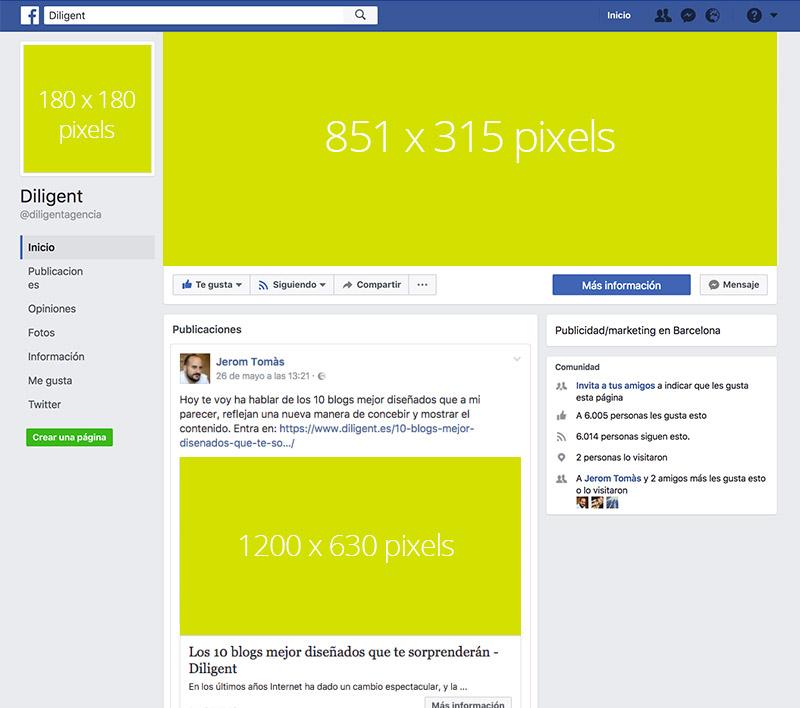 medidas de las imagenes en tu fan page facebook
