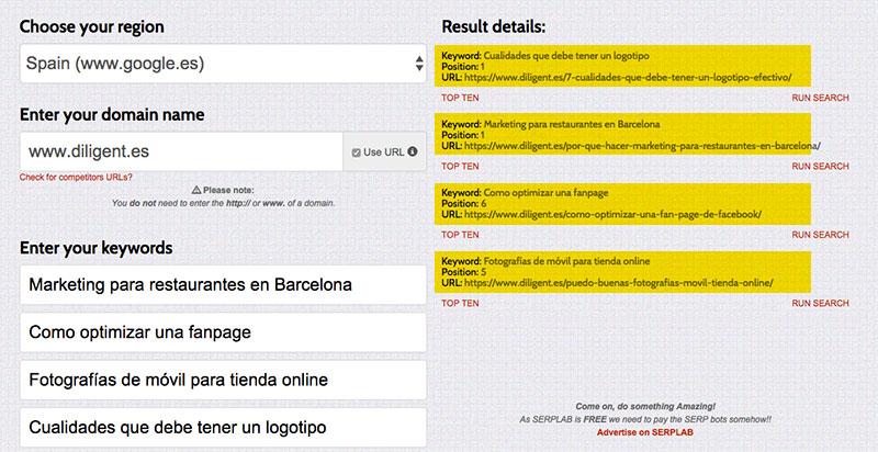 Serlap - Cómo saber la posición de una página web en Google