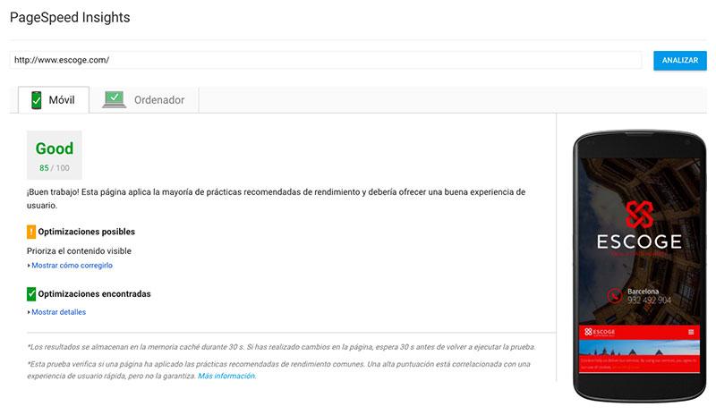 Servicio de PageSpeed para WordPress mobile