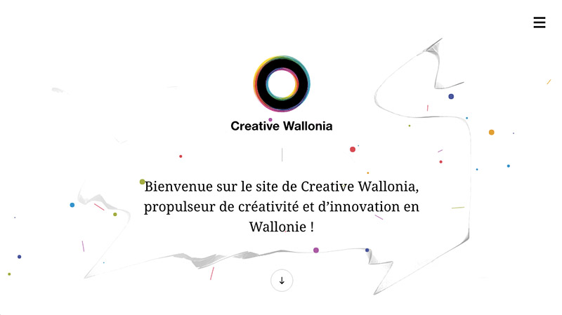 ejemplo del color blanco en la web creative wallonia