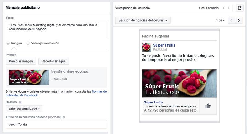 imagenes en optimizar una campaña de Facebook Ads