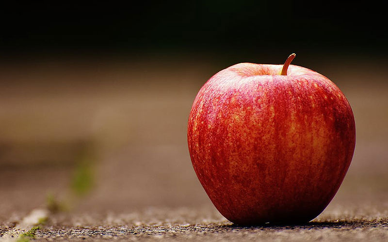 Profundidad de campo en la fotografía de producto manzana