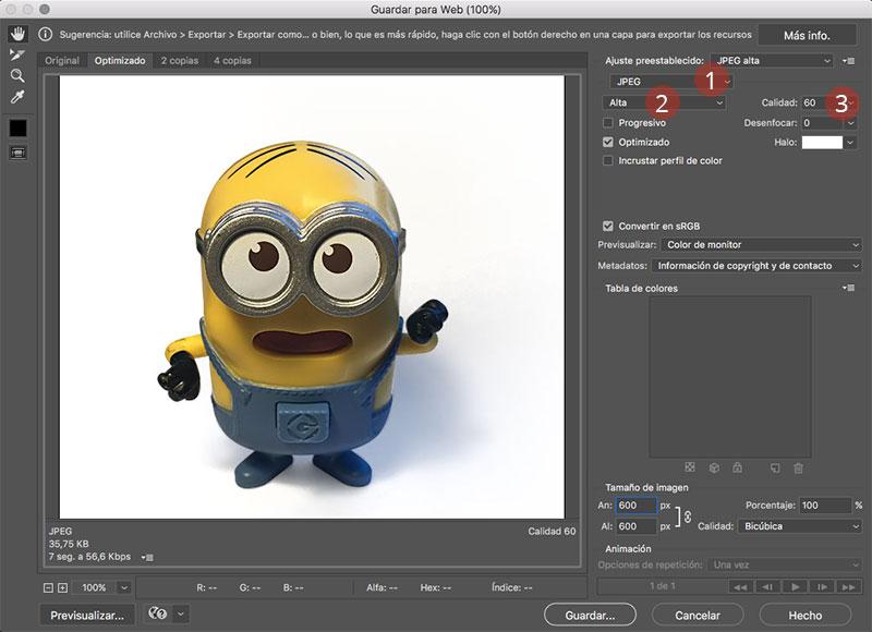 Como editar fotografias de producto con photoshop guardar para web