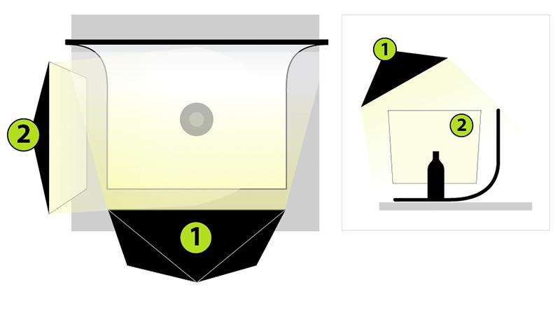Esquema de iluminación para la fotografía de producto opaco