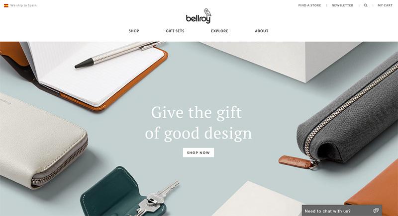 10 mejores diseños en e-commerce bellroy