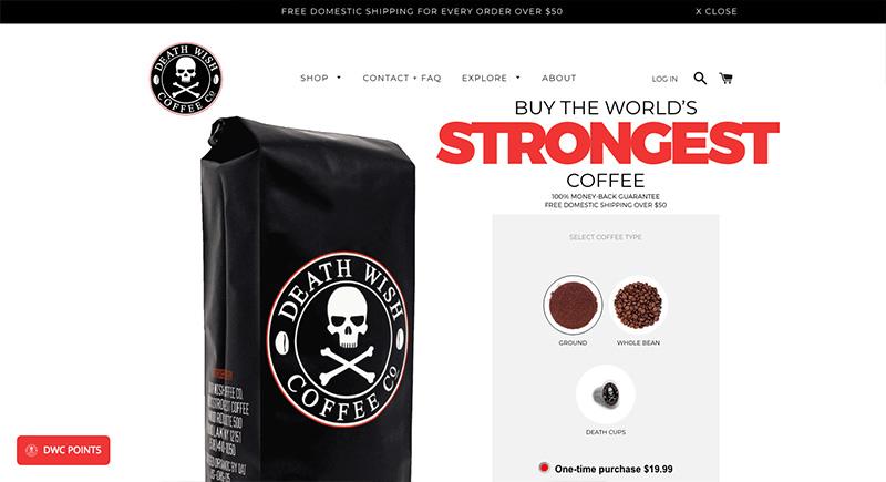 Los mejores diseños en e-commerce deathwishcoffee