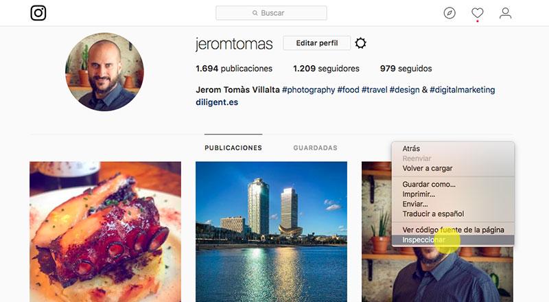 Gestionar Instagram desde el ordenador paso 1