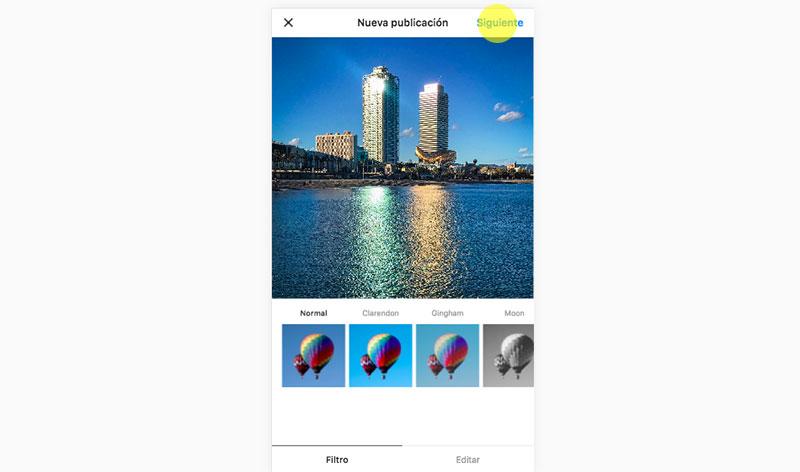 gestionar imágenes de instagram desde ordenador paso 5
