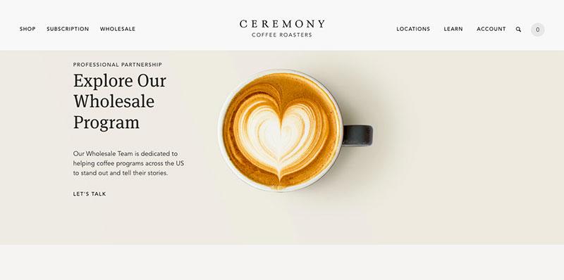 mejores ecommerce de diseño ceremony coffee roasters