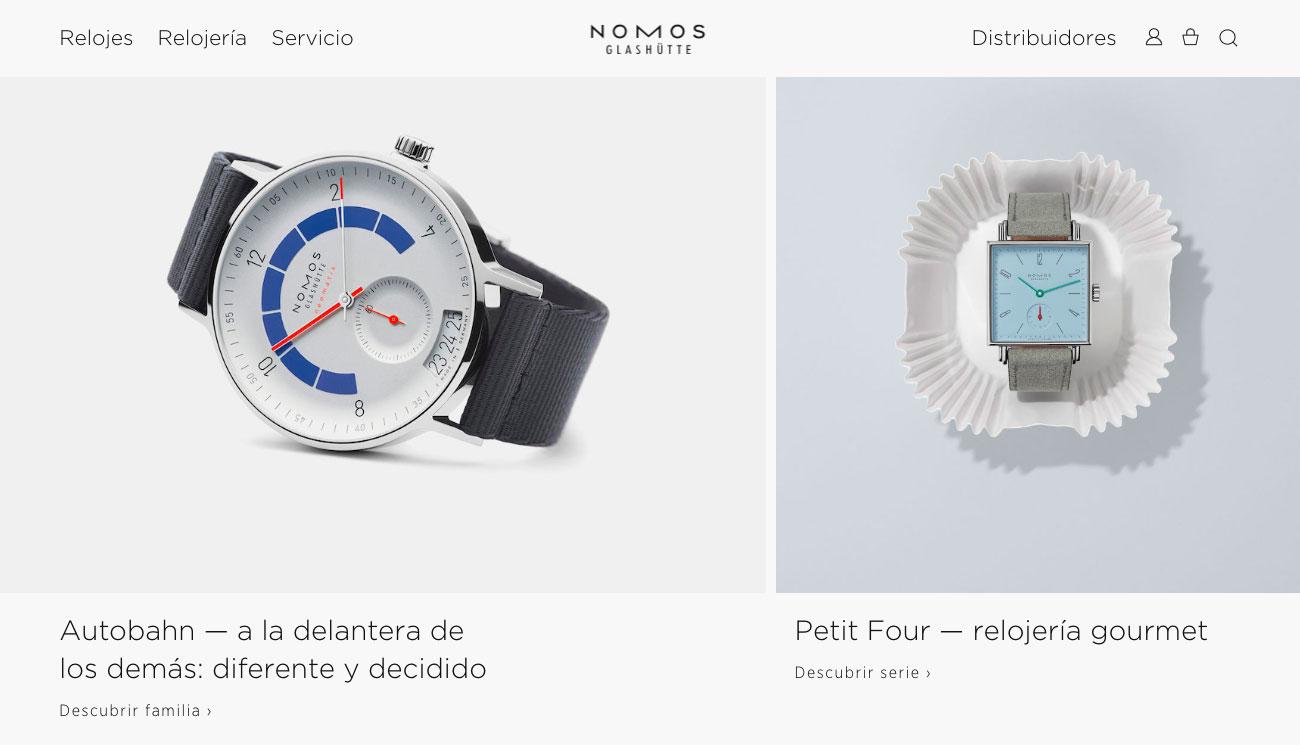 mejores ecommerce de diseño NOMOS Relojes
