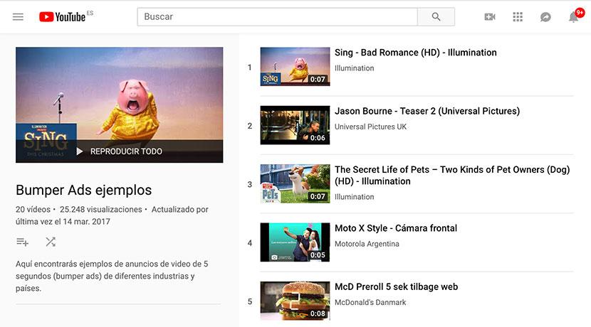 tipos de anuncios de YouTube ejemplo bumper ads