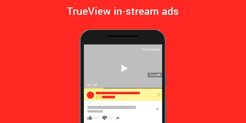tipos de anuncios de YouTube ejemplo trueview in-stream ads