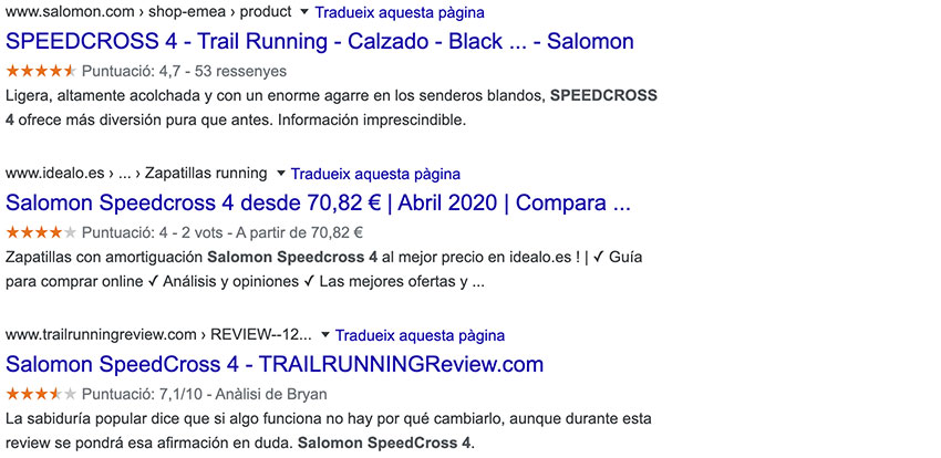 ejemplo Google Rich Snippets